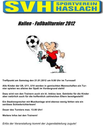 sportverein haslach::. - 21_01_2012 fussball hallenturnier der u9, Einladung